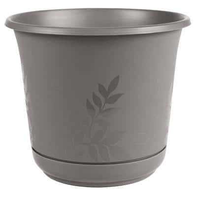 Freesia 12 in. Charcoal Plastic Planter with Saucer