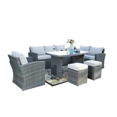 Mediterranean Gray 7-Piece Wicker Patio Conversation Set with Beige Cushions
