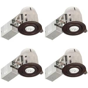 3 in. Oil Rubbed Bronze IC Rated Swivel Spotlight LED Recessed Lighting Kit, LED Bulbs Included (4-Pack)