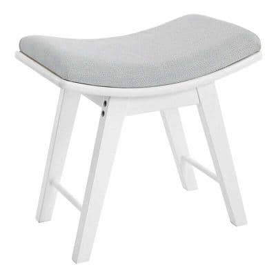 Modern Wooden White Curved Vanity Stool with Upholstered Makeup Seats 18.9in.Wx11.8in.Dx18.1in.H