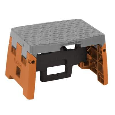 1-Step Resin Molded Folding Step Stool Type 1A in Orange, Black and Gray