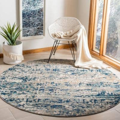 Madison Gray/Blue 9 ft. x 9 ft. Round Area Rug