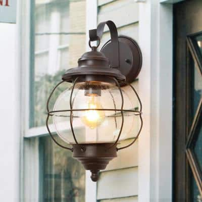 Globe 10 in. 1-Light Rustic Bronze Wall Mount Sconce Coach Light Nautical Outdoor Lighting with Caged Seeded Glass Shade