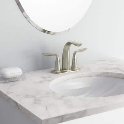Refinia 4 in. Centerset 2-Handle Water-Saving Bathroom Faucet in Brushed Nickel