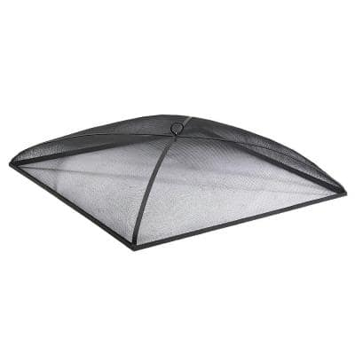 36 in. Square Steel Black Fire Pit Spark Screen