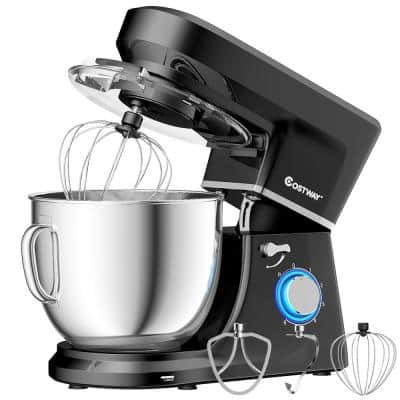 660W 7.5 qt. . 6-Speed Black Stainless Steel Stand Mixer with Dough Hook Beater