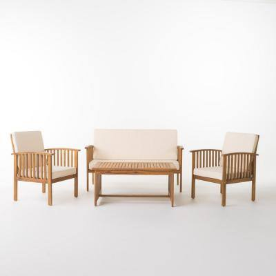 Carolina Brown 4-Piece Wood Patio Conversation Set with Beige Cushions