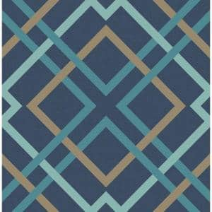 Saltire Navy Lattice Navy Wallpaper Sample