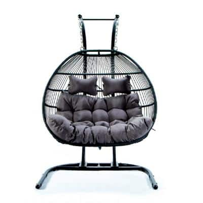 Folding Double Swing Chair with Cushion
