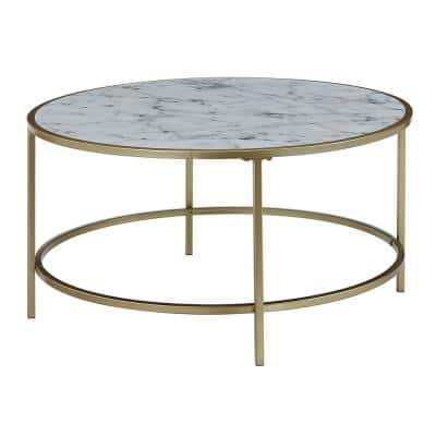 33 in. White/Gold Medium Round Wood Coffee Table