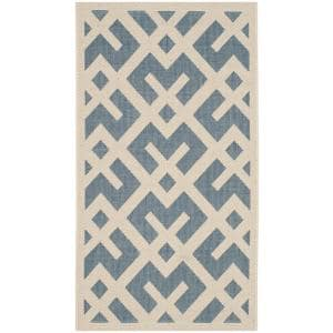 Courtyard Blue/Bone 3 ft. x 5 ft. Indoor/Outdoor Area Rug
