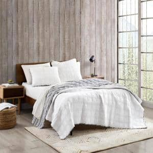 Lake Crescent Reversible 3-Piece Gray Solid Cotton King Quilt Set