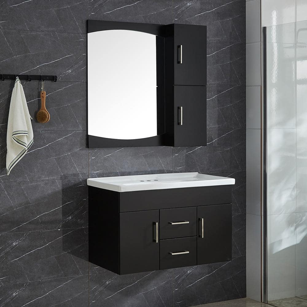 Garrido Bros Co Victoria Ii 32 In 4 Piece Pvc Floating Vanity Set With Ceramic Basin Vanity Base Mirror And Wall Cabinet Sm 47 The Home Depot