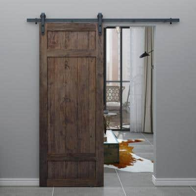 37 in. x 84 in. Barrel 3-Panel Unfinished Knotty Pine Interior Barn Door Slab
