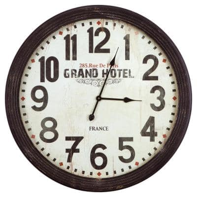31 in. x 31 in. Circular MDF Wall Clock with Glass in Wooden Black Frame