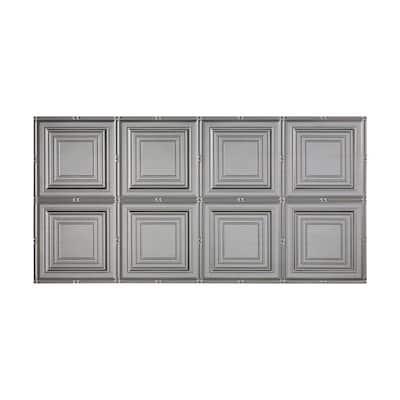 Portrait 2 ft. x 4 ft. Glue Up Vinyl Ceiling Tile in Argent Silver (40 sq. ft.)