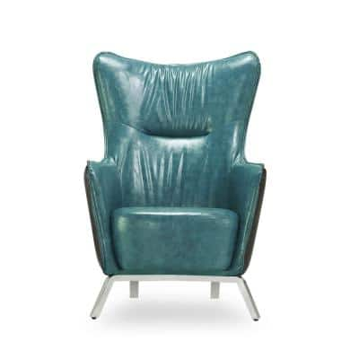 Teal Blue and Brown Chenille Callen Chair
