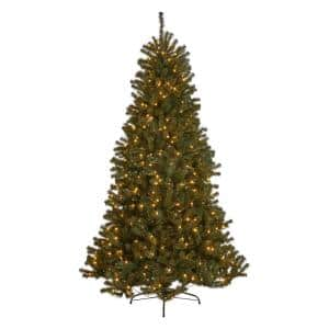 7.5 ft. Pre-Lit Noble Fir Hinged Artificial Christmas Tree with 550 Clear Lights