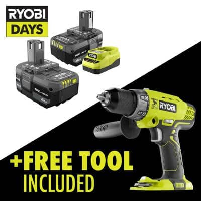 ONE+ 18V Lithium-Ion 4.0 Ah Compact Battery (2-Pack) and Charger Kit with FREE Cordless 1/2 in. Hammer Drill/Driver