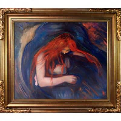 """31 in. x 27""""Vampire, 1895 with Florentine Gold"""" by Edvard Munch Framed Oil Painting"""
