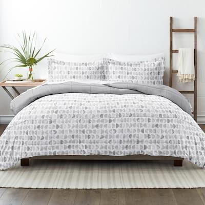 Premium Down Alternative Light Gray Moonlight Stars Reversible Microfiber Queen Comforter Set