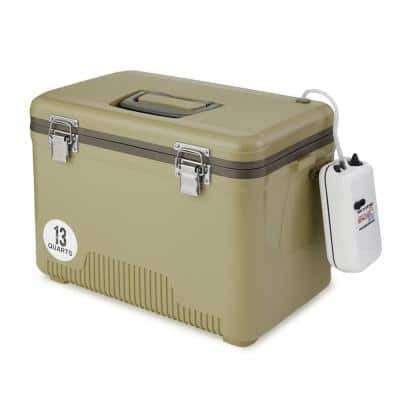 13 qt. Insulated Live Bait Fishing Outdoor Cooler with Water Pump, Tan