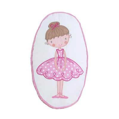 Little Girl Dancer Ballerina Tutu PrincessPolka Dot EmbroideryPinkCotton15 in.x9 in.x 3in.OvalDecorThrowPillow(Set of 1)