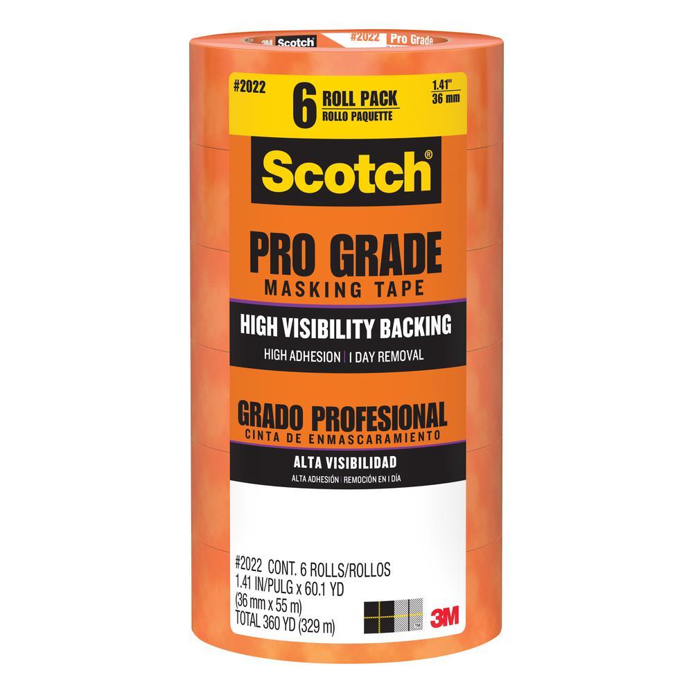 Scotch 1.41 in. x 60.1 yds. Pro Grade Masking Tape ((6-Pack)(Case of 4))