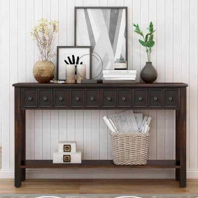 60 in. Black Standard Rectangle Wood Console Table with Drawers