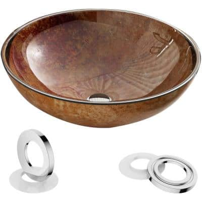 Artistic Brown Glass Round Vessel Sink with Pop-Up Drain