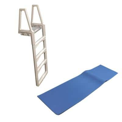 48 in. to 56 in. Adjustable Ladder for In-Pool Above Ground Swimming Pool with Mat