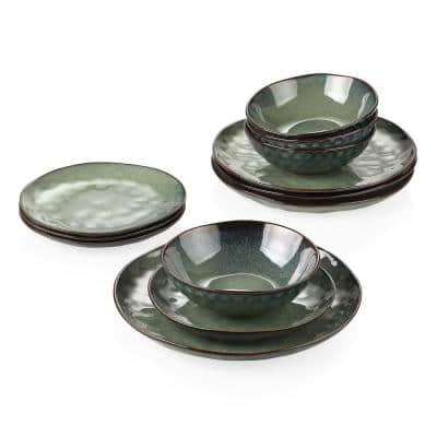 """Starry 12-Piece Green Stoneware Dinnerware Set with 10.25""""Dinnee Plate, 8""""Derssert Plate and 19 oz. Bowl (Service for 4)"""