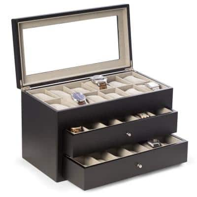 Matte Black Wood 36-Watch Box with Glass Top and 2-Drawers Velour Lining and Pillows