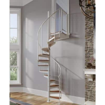 Condor White Interior 42in Diameter, Fits Height 93.5in - 104.5in, 2 36in Tall Platform Rails Spiral Staircase Kit