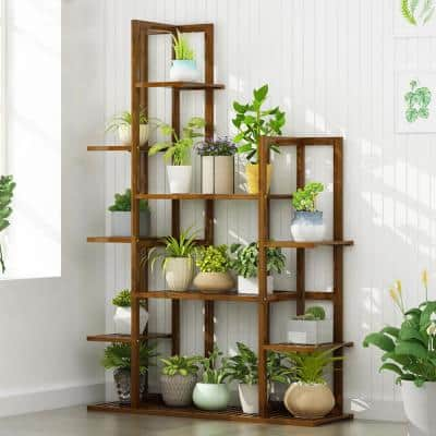 7-Tier Brown Bamboo Indoor Outdoor Plant Stand