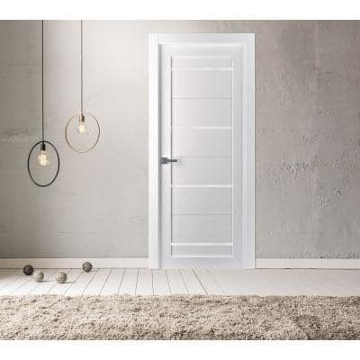 32 in. x 80 in. Mika Bianco Noble 7-Lite Frosted Glass Left-Hand Solid Core Composite Single Prehung Interior Door