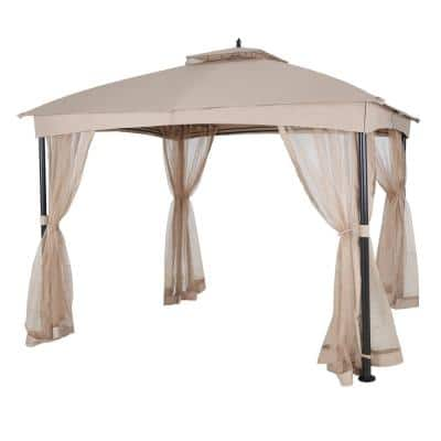 12 ft. x 10 ft. Khaki Dome Shaped Soft Top Steel Outdoor Patio Gazebo with Netting