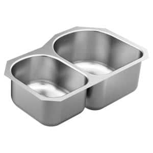 1800 Series Stainless Steel 31.25 in. Double Bowl Undermount Kitchen Sink with 8 and 10 in. Depth