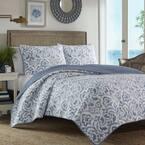 Cape Verde 3-Piece Blue Geometric Cotton Full/Queen Quilt Set