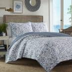 Cape Verde 3-Piece Blue Geometric Cotton King Quilt Set