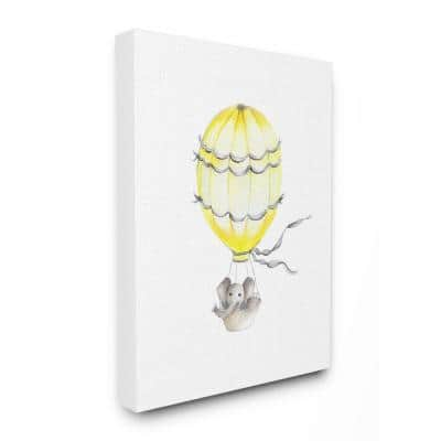 """36 in. x 48 in. """"Cute Cartoon Elephant In Hot Air Balloon Zoo Painting"""" by Studio Q Canvas Wall Art"""
