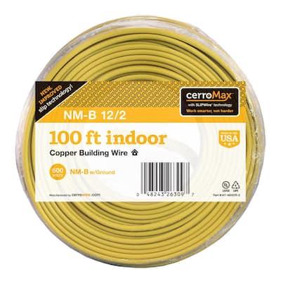 100 ft. 12/2 Yellow Solid CerroMax SLiPWire CU NM-B W/G Wire