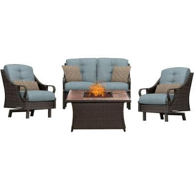 Ventura 4-Piece All-Weather Wicker Patio Conversation Set with Tile-Top Fire Pit with Ocean Blue Cushions