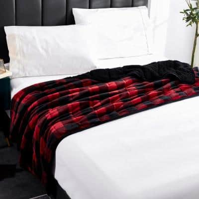 Red Black Buffalo Velvet to Sherpa Reverse 48 in. x 72 in 12 lbs Weighted Throw Blanket
