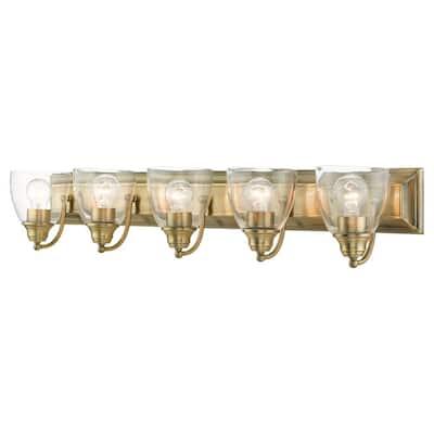 Birmingham 5 Light Antique Brass Vanity Sconce