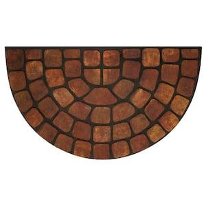 Beige Stone Slice 18 in. x 30 in. Raised Rubber Door Mat