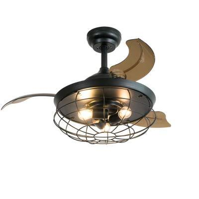 35.8 in. Indoor Black Ceiling Fan with Light with Remote Control