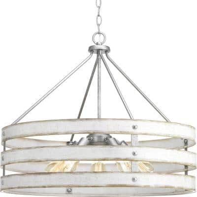 Gulliver 5-Light Galvanized Drum Pendant with Weathered White Wood Accents