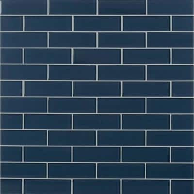 Midnight Subway 11.75 in. x 12 in. x 8 mm Glass Stone Mesh-Mounted Mosaic Tile (9.8 sq. ft./Case)