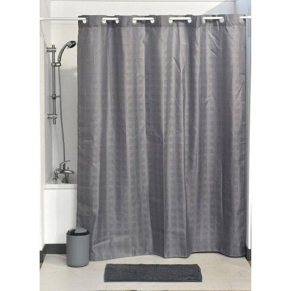 Hookless Shower Curtain Polyester Cubic, What Color Goes With Gray Shower Curtain